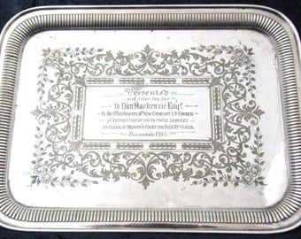 Stunning Antique Tray, Large Tray, Rectangular Serving, Silver Plate, Bright Cut, Engraved Inscription, Handled Tray, Hamilton and Laidlaw