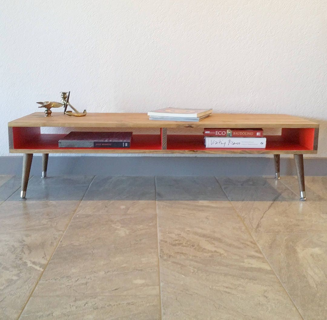 Mid Century Modern Coffee Table Wood Legs Desk TV