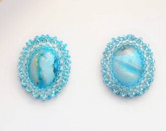 Earrings Novelove #earrings turquoise with white seedbeads #oval lobeearrings style the50s #beadsearrings #made in Italy#summerearrings
