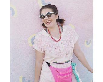 1980s Pink Fringe Romper