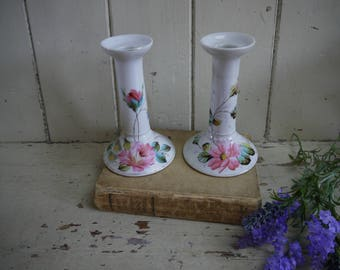 Pair of Victorian Hand Painted Candlesticks - Antique Candle Sticks - Antique Candle Holders - Vintage Candles - Vintage Candle Sticks