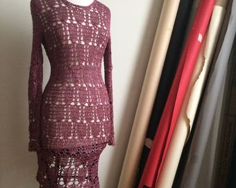 Vintage Dusty Rose Crochet Dress, Open Knit Long Sleeve Pink Purple 90s does 70s, BodyCon, Boho, Small, Shine