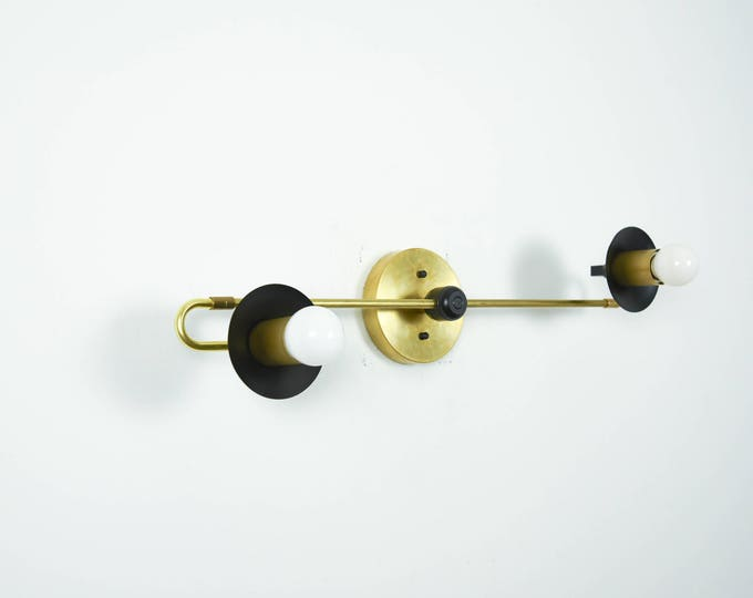 Matte Black and Brass Gold 2 Light Wall Sconce Trumpet Covers Vanity 2 Bulb Modern Mid Century Industrial Bathroom UL Listed