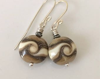 Taupe and Black Glass Earrings   Lampwork Glass Earrings   Beige and Black Earrings   Sterling Silver Earrings