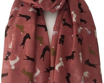 Pink Dachshund Dog Scarf, Brown Black Lilac and White Sausage Dogs, 100% Cotton Scarf, Doxie