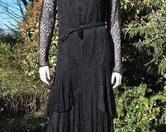 """20s 30's Black Net Lace Flapper Dress. Drop Waist, Tiered Skirt. Bust 38"""""""