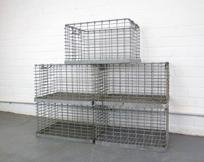 Galvanised Steel Factory Crates Circa 1950s