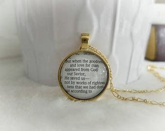 He saved us not by works bezel necklace/Pendant necklace/Gift for Her/Gift for mom/Gift for Wife/Christian Jewelry/Vintage Jewelry/Custom