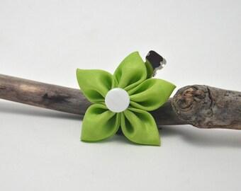 Lime Green Silk Kanzashi Flower Hair Clip