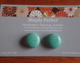 Turquoise Faux leather studs or clip ons/Mermaid scale pattern earrings