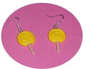 Striped yellow lollipop polymer clay earrings