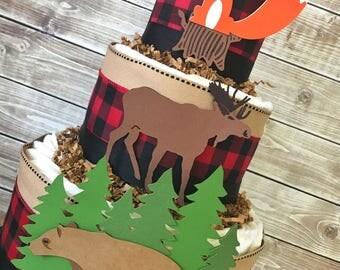 Buffalo Plaid Woodland Animals Baby Shower Diaper Cake, Boy Woodland Baby Shower Centerpiece, Woodland Baby Shower Decoration
