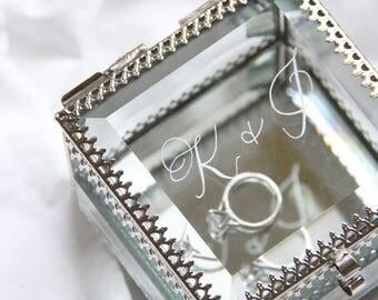Customizable Glass Wedding Ring Box   Wedding Gift   Ring Bearer Box   Vintage Glass Box   Silver Ring Box  Glass Ring Box  Ring Bearer
