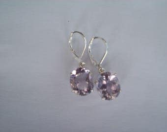 Genuine Rose de France Amethyst Earrings in Sterling Silver -12x10mm oval