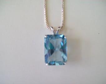Emerald cut pendant etsy large emerald cut lab aquamarine pendant in sterling silver 18x13mm aloadofball Gallery