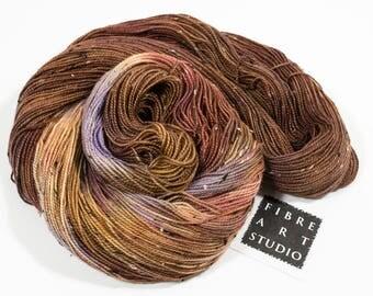 Variegated Donegal Tweed Yarn in Brown Gold Yellow Purple | Superwash Merino Wool Nylon | 100g 438 yds | Fingering | Hand Dyed | Rocky Road