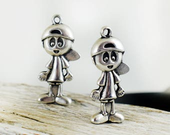 Antique Silver Boy Pendant Charm 17x37 mm, Little Boy Charm, Metal Pendant for Jewelry Making, DIY