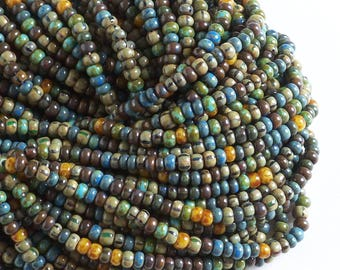 Caribbean Bead Mix, 6/0 Picasso Aged Striped Czech Seed Bead Mix, Preciosa Tribal Bead Mix, 4mm Picasso Bead Mix
