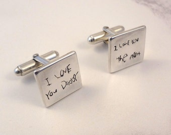 Handwriting Written Word Cufflinks with Engraved Message on the back