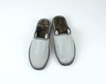 Mens Slippers, Gray Slippers, Handmade Slippers, Leather Slippers, Gift for Men, Sheepskin Slippers, Fur Slippers, Winter Slippers, Warm