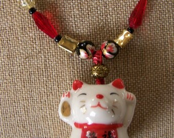 Chinese Happiness Cat Necklace,Cat Pendant Necklace,Red & Gold Jewelry,Chinese New Year Jewelry,Animal Jewelry,Valentine Necklace gift,#133