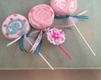 Baby Washcloth Lollipops Unique Baby Shower Decorations Girl Baby Shower Table Centerpieces Baby Girl Shower Decorations Girl Shower Ideas