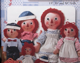 15, 26 and 36 Inch Raggedy Ann & Andy Doll Pattern Simplicity Pattern 9447 Sewing Pattern 2000