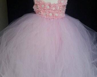 Flower girl dress - Tulle flower girl dress -Light Pink Dress - Tulle dress-Infant/Toddler -Pageant dress - Princess dress-Pink flower dress