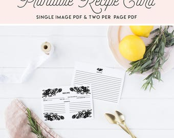INSTANT DOWNLOAD Recipe Card - Black and White Floral Accent Modern Recipe Card - Morgan Floral Suite - 4 x 6