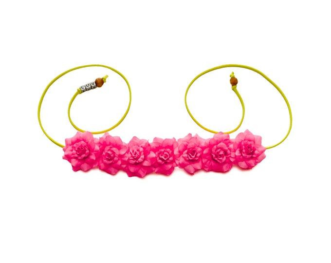 Neon Pink Rose Flower Crown