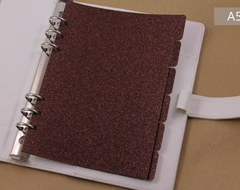 Planner dividers A5, brown dividers for planner organiser, glitter planner accessories