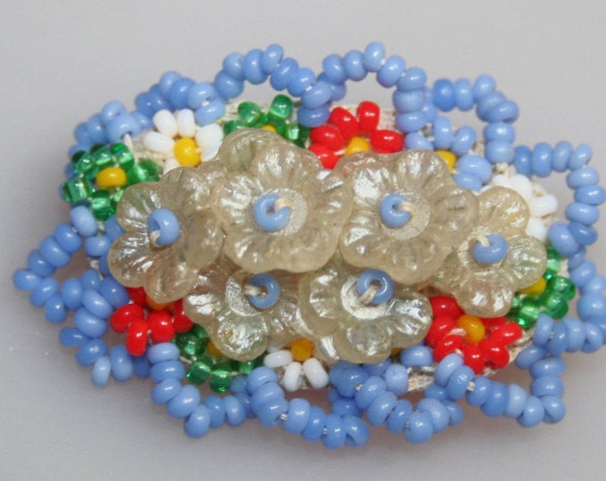 Antique Hand Made Brooch Flower Pin Glass Seed Beads Czechoslovakia 1920