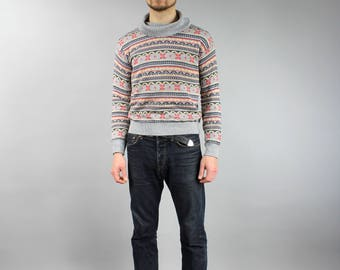 1990s Men's Gray Multicolor Geometric Print Cowl neck Pullover, Preppy Retro Jumper, Coogi Hipster Slim Fit Striped Casual Sweater, Sz S M