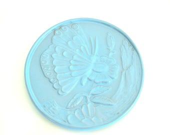 Frankoma Pottery Blue Trivet - Butterfly Pattern