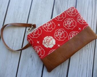 Floral Print, Rose Wallet, Phone Clutch, Floral Wristlet, iphone Wallet, Vegan Faux Leather