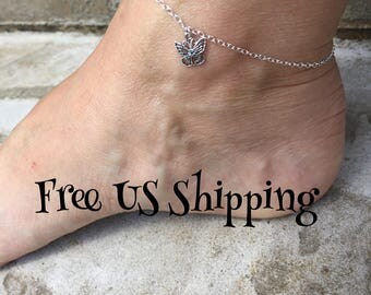 Butterfly Anklet Butterfly Jewelry Free Shipping Made in USA Cute Anklet Sterling Silver Ankle Bracelet Silver Anklet Made in Texas
