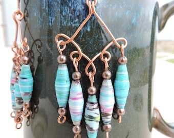 Handmade copper and bead dangle earrings. One of a kind.