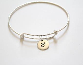 Sterling Silver Bracelet with Sterling Silver Cursive E Letter Charm, Bracelet with Silver Letter E Pendant, Initial E Charm Bracelet, E