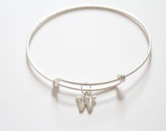 Sterling Silver Bracelet with Sterling Silver Typewriter W Letter Charm, Bracelet with Silver Letter W Pendant, Initial W Charm Bracelet, W