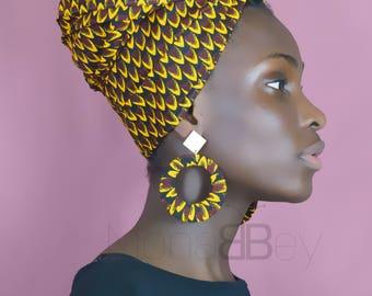 Foulard en tissu wax, african fabric headwrap, ankara turban, headwrap for women, birthday gift, gift for her, turbante afro, foulard wax