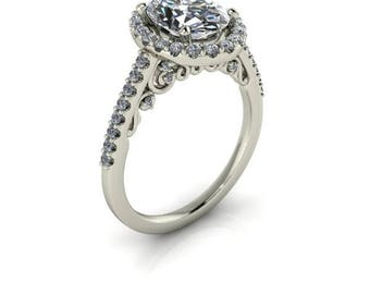 Forever One Moissanite Oval Halo, 2 carats,  9x7 Oval, 18k White Gold, Conflict Free Diamond Accents