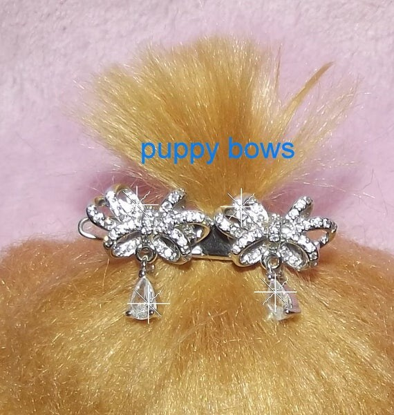 "Puppy Bows ~wee tiny double crystal dangle 1"" rhinestone Dog Bow  barrette pet hair clip ~USA seller"
