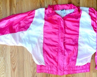 80's/90's PUMA Neon Pink Lightweight Bold and Colorful Windbreaker Jacket - Unisex XS