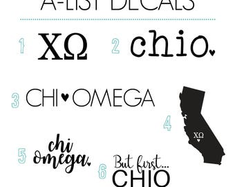 Chi Omega Decal Pack / Chi Omega Stickers / Sorority Decal Set of 6 / Chi Omega Car Decal / Chi O Laptop Decal / ChiO Vinyl Decal Pack