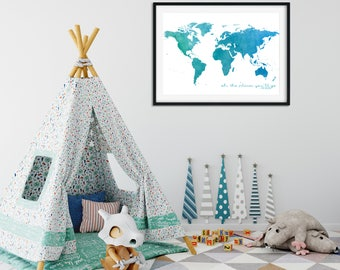 Oh the Places You'll Go Watercolour Print (BLUE)