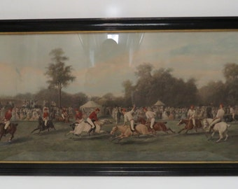 Antique Framed (Newer) Victorian Print of a Polo Match w/ Some Hand Coloring.
