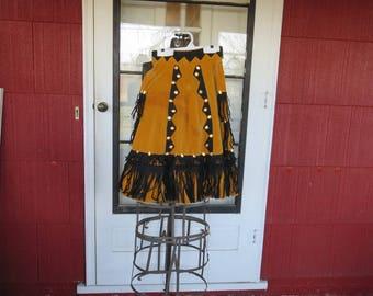 "Vintage 1940s 1950s gold velvet skirt Western cowgirl singer entertainer stage costume metal sequins black felt fringe 24"" waist (111817)"