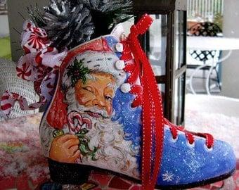 Hand Painted Santa, Holiday Skates, Christmas Decorations, Christmas Skates, Santa Skates, Painted Skates, Decorated Skates, Santa-CandyCane