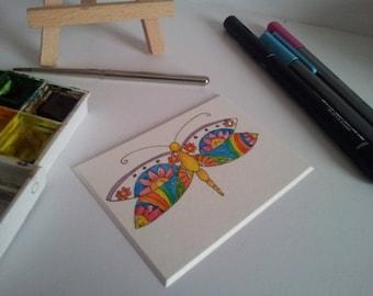 Hand drawn Dragonfly ACEO, Dragonfly ATC,Dragonfly Mini Art, Rainbow Art, Hippie Art,Miniature Art,Recycled Art
