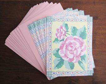 Vintage Blank Greeting Cards, 9 Pink Rose Cards with Envelopes, Vintage Stationery Set, 1987 Carlton Cards, Paper Ephemera, Pen Pals